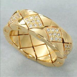 CHANEL CoCo Crush Diamond & Gold Matelasse Ring